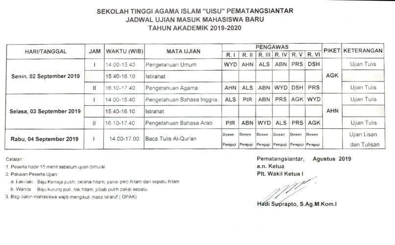 Pengumuman Jadwal Ujian Masuk Mahasiswa Baru T.A. 2019/2020