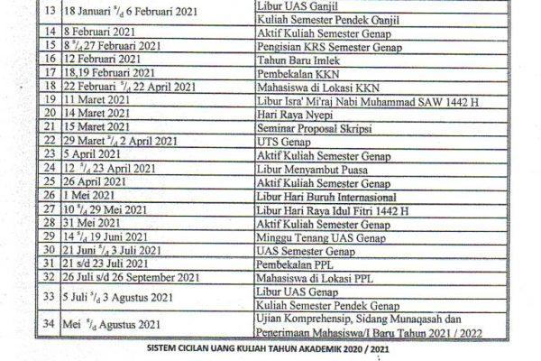 Kalender Akademik T.A.2020/2021