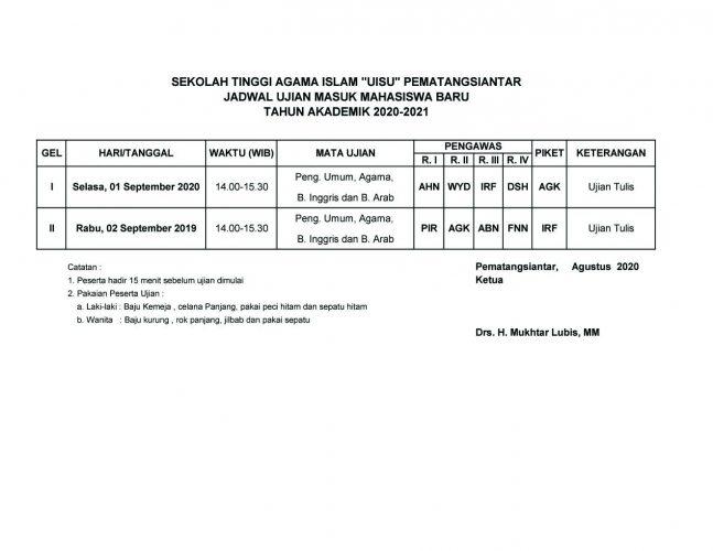 "Jadwal Ujian Masuk Mahasiswa Baru STAI ""UISU"" Pematangsiantar T.A.2020/2021"